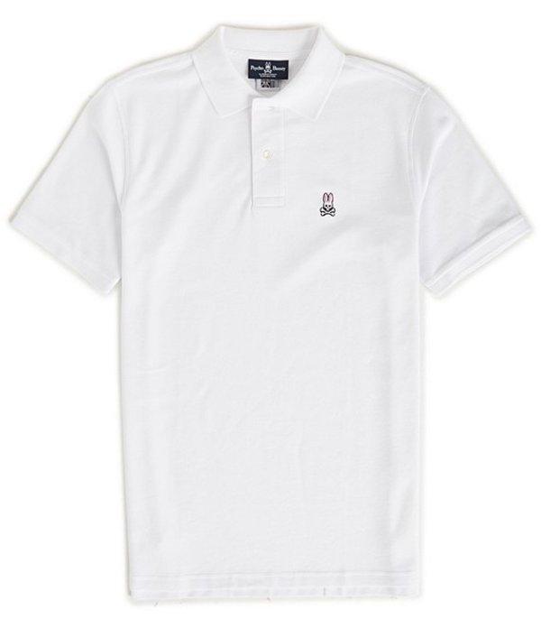 サイコバニー メンズ シャツ トップス Classic Short-Sleeve Solid Polo Shirt White