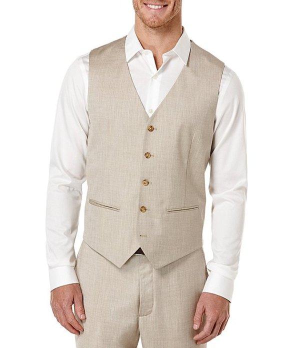 ペリーエリス メンズ ジャケット・ブルゾン アウター Big & Tall Herringbone Linen Vest Natural Linen