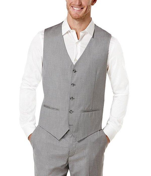 ペリーエリス メンズ ジャケット・ブルゾン アウター Big & Tall Herringbone Suit Separates Vest Brushed Nickel