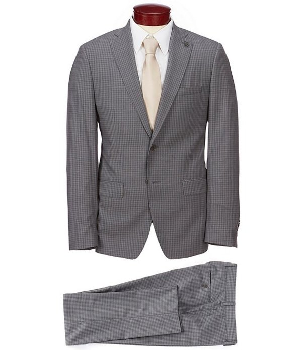 サイコバニー メンズ ジャケット・ブルゾン アウター Slim Fit Small Check Wool Suit Grey