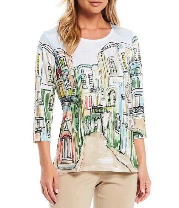 アリソン デイリー レディース Tシャツ トップス Petite Size Rue Paris Border Print Rhinestone Embellished Detail 3/4 Sleeve Crew Neck Top Rue Paris Border