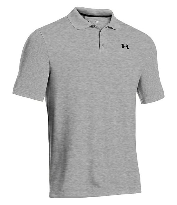 アンダーアーマー メンズ シャツ トップス HeatGearR Golf Performance Loose Polo Shirt True Grey Heather/Black