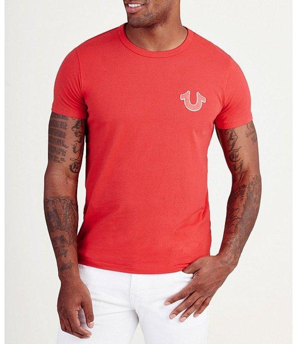トゥルーレリジョン メンズ シャツ トップス Double Puff Crew Neck Short-Sleeve Graphic Tee Ruby Red