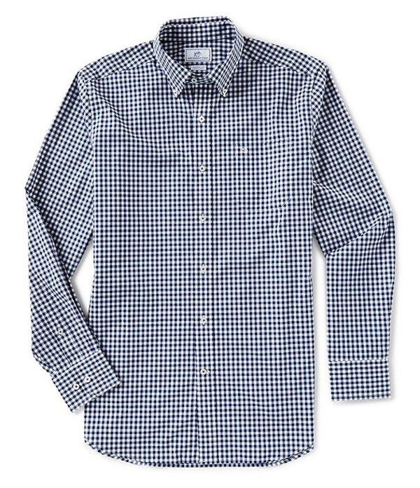 サウザーンタイド メンズ シャツ トップス Gingham Long-Sleeve Woven Shirt Yacht Blue