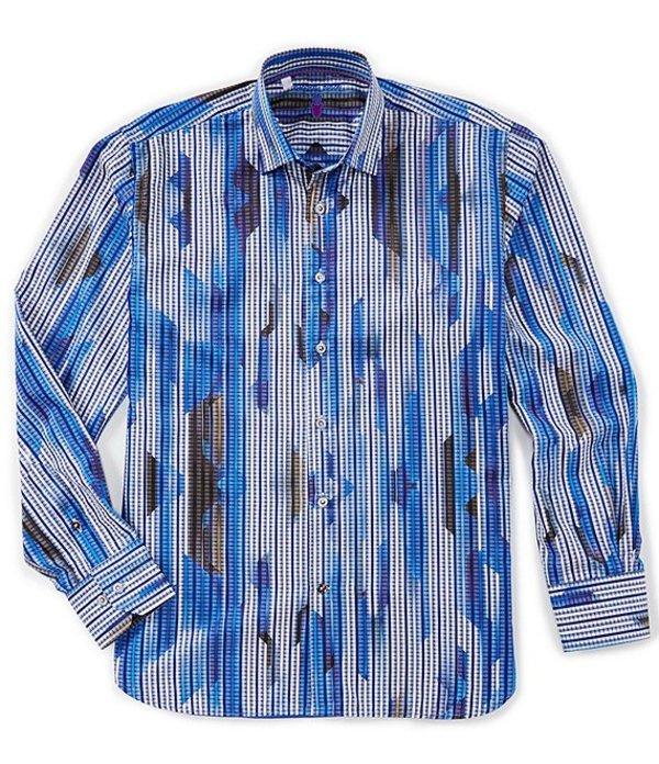 ビスコッティ メンズ シャツ トップス Big & Tall Jagged Stripe Long-Sleeve Woven Shirt White/Blue