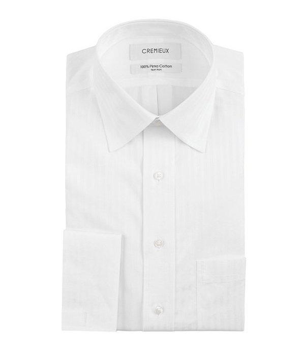 ダニエル クレミュ メンズ シャツ トップス Non-Iron Classic-Fit Spread-Collar Tonal-Stripe Dress Shirt White