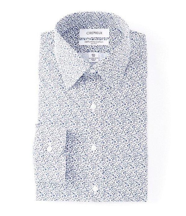 ダニエル クレミュ メンズ シャツ トップス Non-Iron Classic Fit Spread Collar Vine Print Dress Shirt Navy