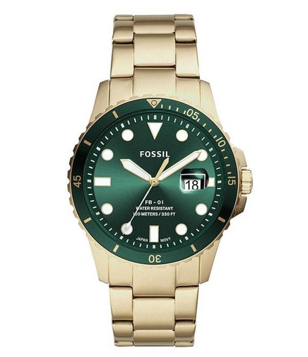 フォッシル メンズ 腕時計 アクセサリー Three-Hand Date Gold-Tone Stainless Steel Watch Gold