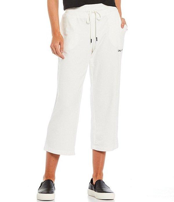 カルバンクライン レディース カジュアルパンツ ボトムス French Terry Knit Embroidered Logo Drawstring Crop Pants Soft White