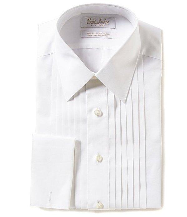 ラウンドトゥリーアンドヨーク メンズ シャツ トップス Gold Label Roundtree & Yorke Non-Iron Fitted Point-Collar Solid Tuxedo Shirt with French Cuffs White
