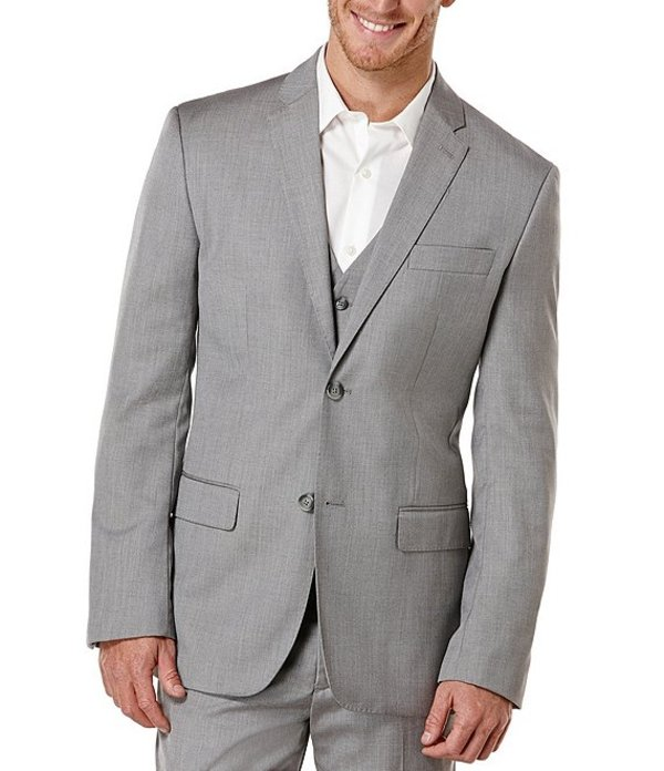 ペリーエリス メンズ ジャケット・ブルゾン アウター Big & Tall Herringbone Sportcoat Brushed Nickel