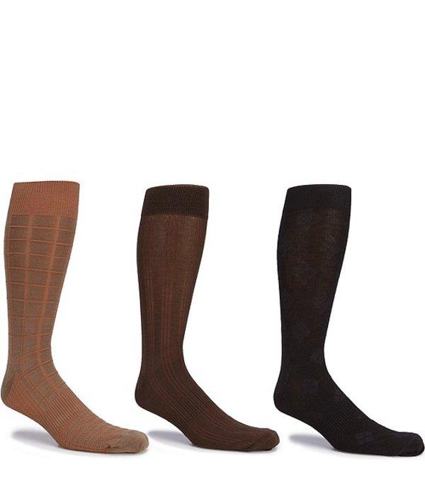 ラウンドトゥリーアンドヨーク メンズ 靴下 アンダーウェア Gold Label Roundtree & Yorke Big & Tall Assorted Square-Canale-Argyle Crew Socks 3-Pack Assorted