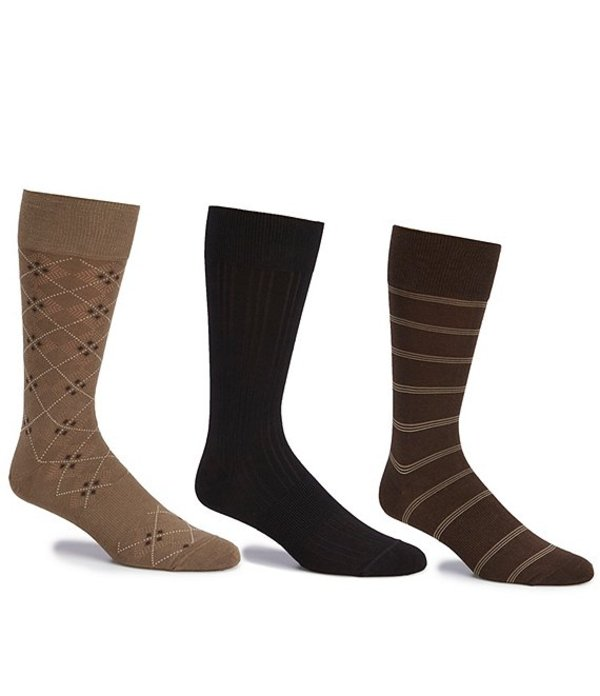 ラウンドトゥリーアンドヨーク メンズ 靴下 アンダーウェア Gold Label Roundtree & Yorke Big & Tall Assorted Argyle-Solid- Stripe Crew Socks 3-Pack Assorted