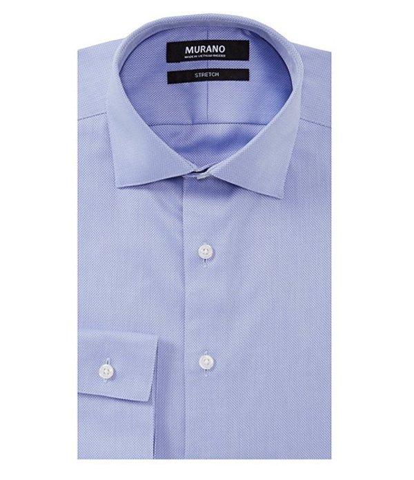 ムラノ メンズ シャツ トップス Slim Fit Spread Collar Herringbone Dress Shirt Blue