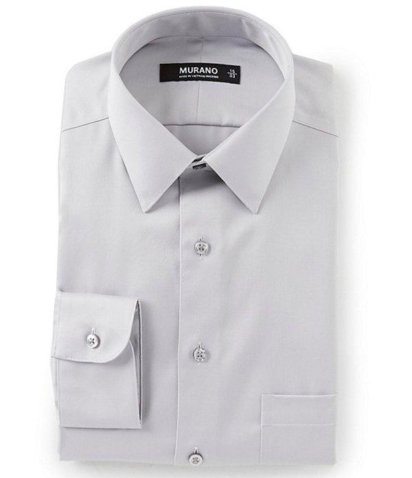 ムラノ メンズ シャツ トップス Slim-Fit Point-Collar Solid Sateen Dress Shirt Granite