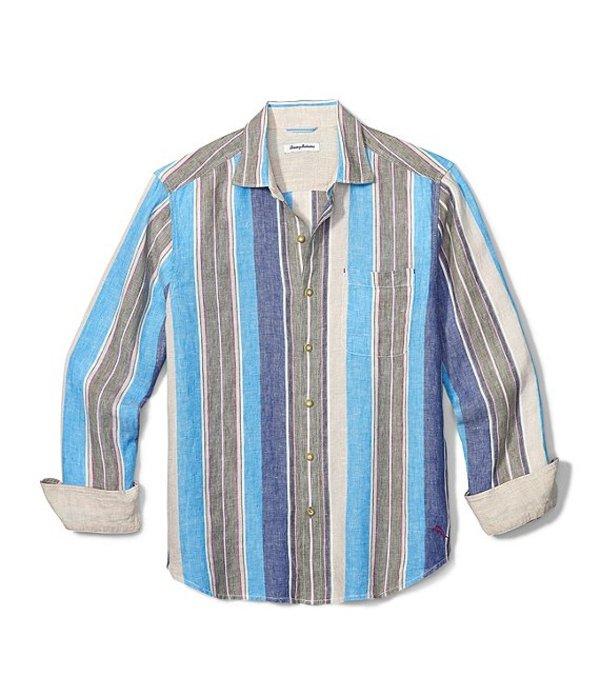 トッミーバハマ メンズ シャツ トップス Big & Tall Chandler Bay Stripe Linen Long-Sleeve Woven Shirt Tea Leaf