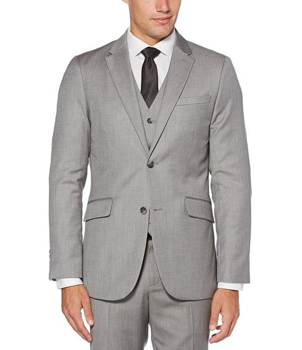 ペリーエリス メンズ ジャケット・ブルゾン アウター Big & Tall Slim-Fit Herringbone Suit Separates Jacket Brushed Nickel