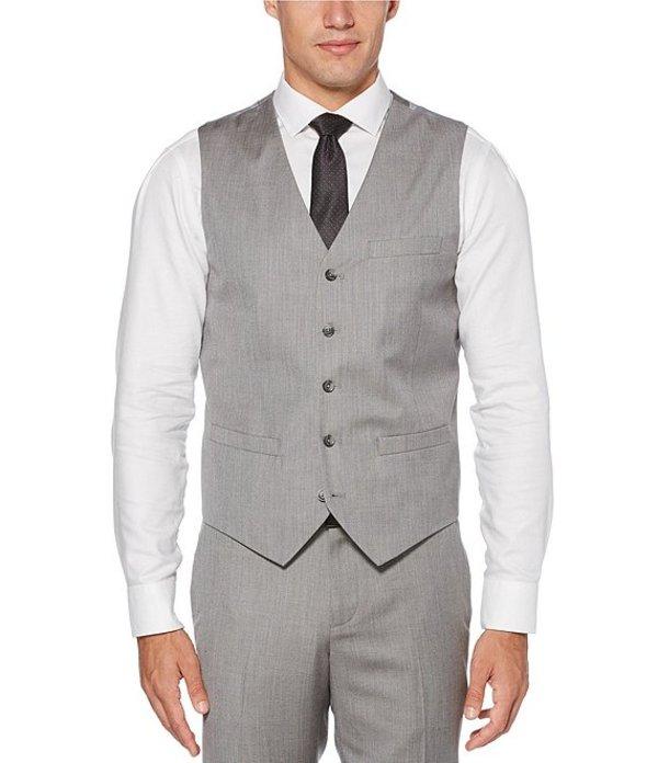 ペリーエリス メンズ ジャケット・ブルゾン アウター Big & Tall Slim Fit Herringbone Suit Separates Vest Brushed Nickel
