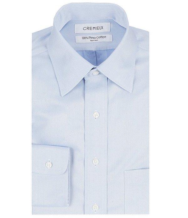 ダニエル クレミュ メンズ シャツ トップス Non-Iron Classic-Fit Spread-Collar Herringbone Dress Shirt Blue