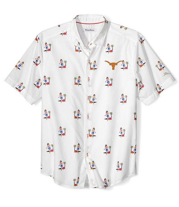 トッミーバハマ メンズ シャツ トップス Collegiate Texas Longhorns Hula Oasis Print Short-Sleeve Woven Shirt Texas Longhorns White