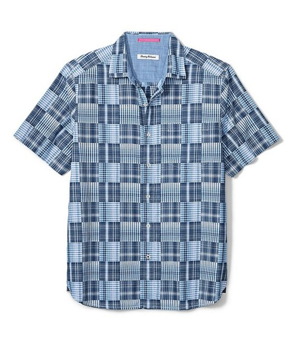 トッミーバハマ メンズ シャツ トップス Big & Tall Patchwork In Paradise Short-Sleeve Woven Camp Shirt Monaco Blue
