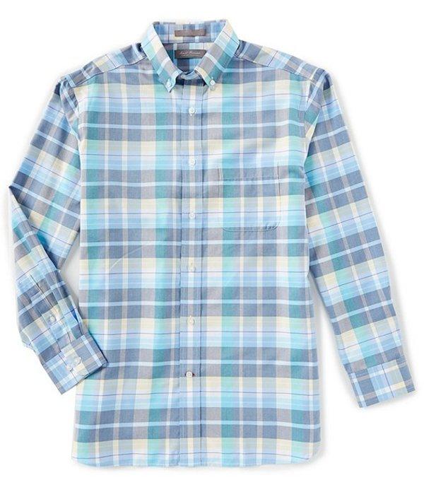 ダニエル クレミュ メンズ シャツ トップス Daniel Cremieux Signature Pinpoint Large Plaid Long-Sleeve Woven Shirt Azure Blue