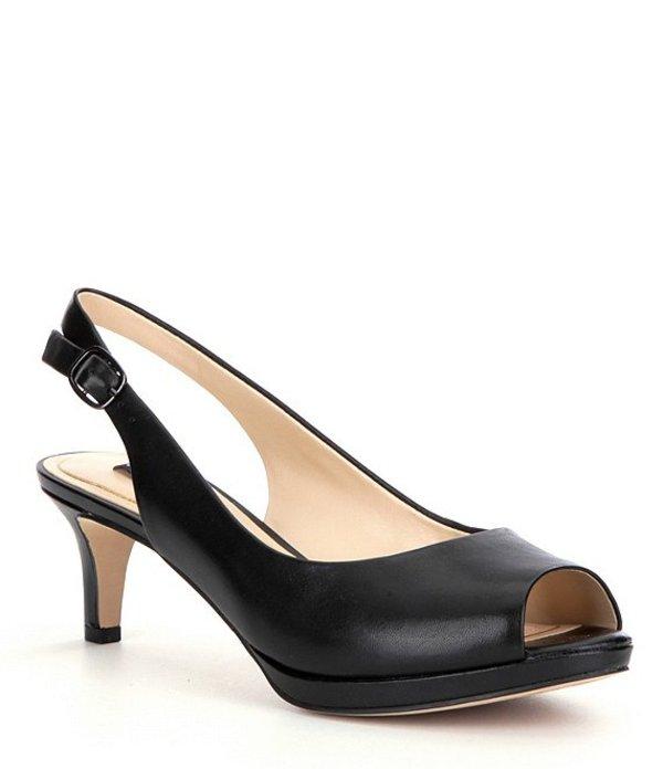 アレックスマリー レディース ヒール シューズ Melanie Leather Slingback Peep-Toe Pumps Black