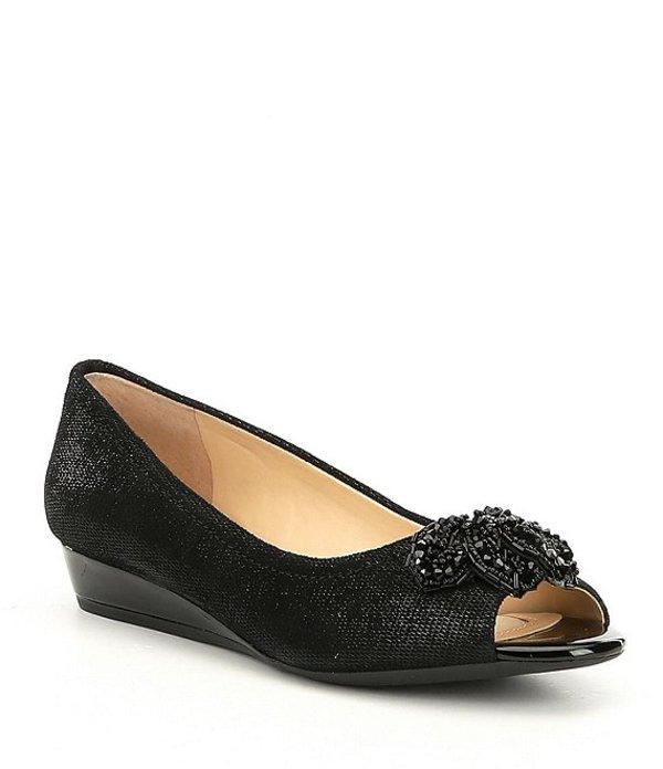 アレックスマリー レディース サンダル シューズ Desirae Metallic Leather Beaded Ornament Peep-Toe Wedges Black