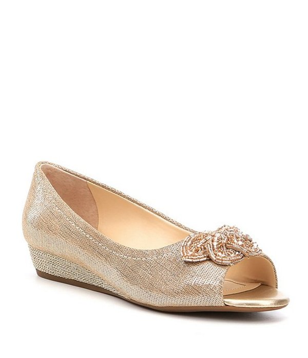 アレックスマリー レディース サンダル シューズ Desirae Metallic Leather Beaded Ornament Peep-Toe Wedges New Nude/Totes Gold