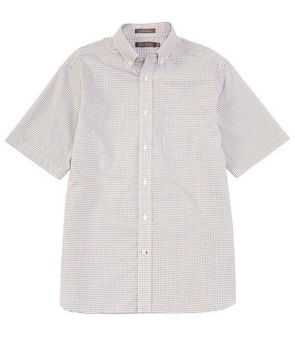 ダニエル クレミュ メンズ シャツ トップス Daniel Cremieux Signature Jaspe Mini-Check Short-Sleeve Woven Shirt Dark Stone