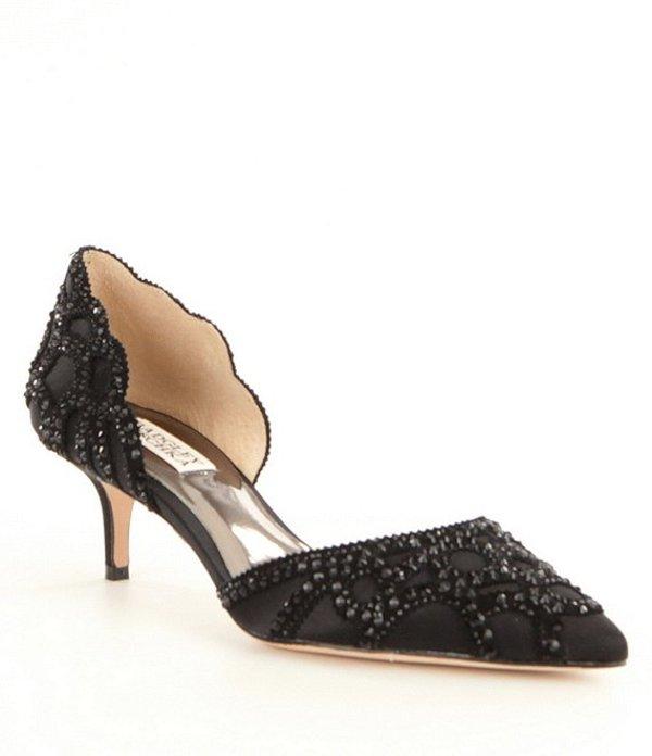 バッジェリーミシュカ レディース ヒール シューズ Ginny Satin And Suede Jeweled d'Orsay Pumps Black