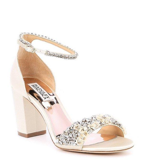 バッジェリーミシュカ レディース サンダル シューズ Finesse Satin Block Heel Dress Sandals Ivory