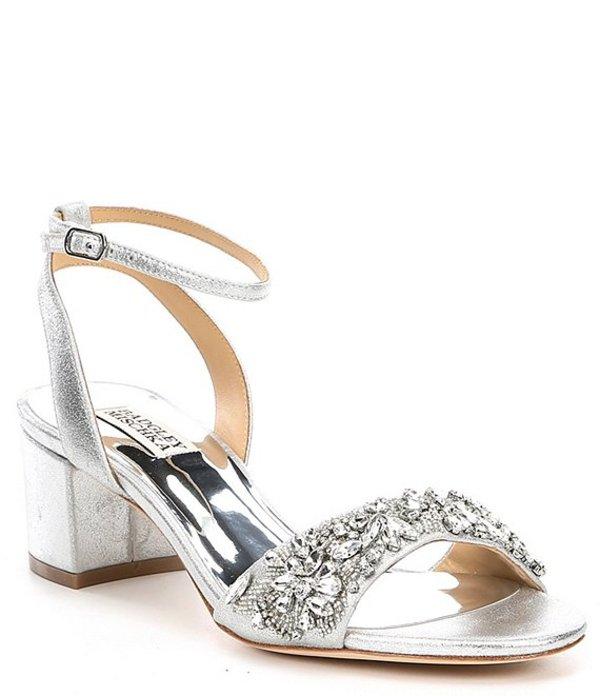 バッジェリーミシュカ レディース サンダル シューズ Ivanna Metallic Leather Block Heel Dress Sandals Silver