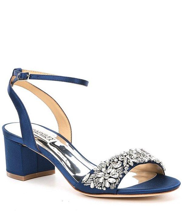 バッジェリーミシュカ レディース サンダル シューズ Ivanna Block Heel Satin Block Heel Dress Sandals Navy Satin