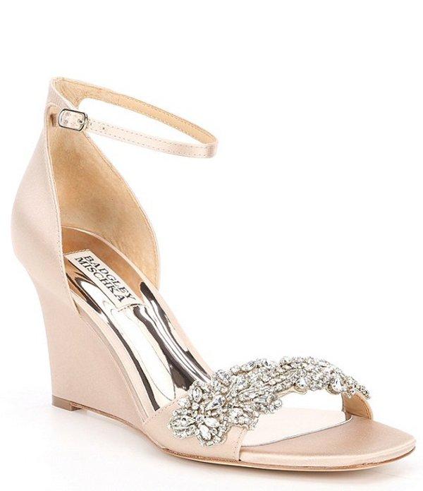 バッジェリーミシュカ レディース サンダル シューズ Aliyah Wedge Dress Sandals Latte Satin