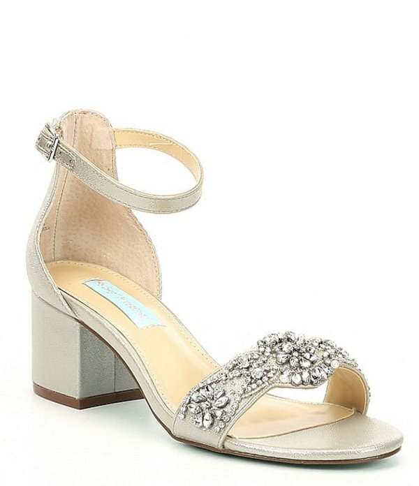 ベッツィジョンソン レディース サンダル シューズ Blue by Betsey Johnson Mel Bejeweled Satin Block Heel Dress Sandals Silver
