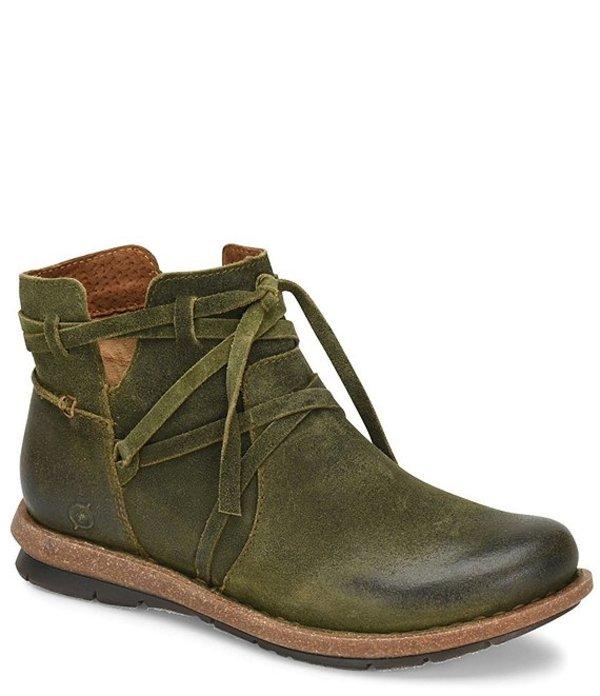ボーン レディース ブーツ・レインブーツ シューズ Tarkiln Distressed Leather Booties Green