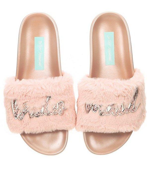 ベッツィジョンソン レディース サンダル シューズ Blue by Betsey Johnson Lovi Bridesmaid Faux-Fur Slides Petal Pink