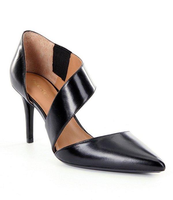カルバンクライン レディース ヒール シューズ Gella Leather Asymmetrical Pumps Black