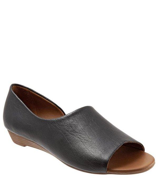 ブエノ レディース サンダル シューズ Anna Leather Demi Wedge Open Toe Slip On Flats Black