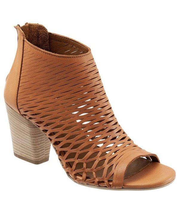 ブエノ レディース ブーツ・レインブーツ シューズ Zola Cutout Peep-Toe Leather Block Heel Booties Tan