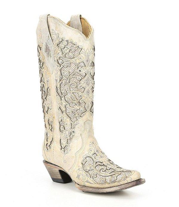 コーラルブーツ レディース ブーツ・レインブーツ シューズ Corral Glitter Inlay & Crystal Block Heel Western Boots White