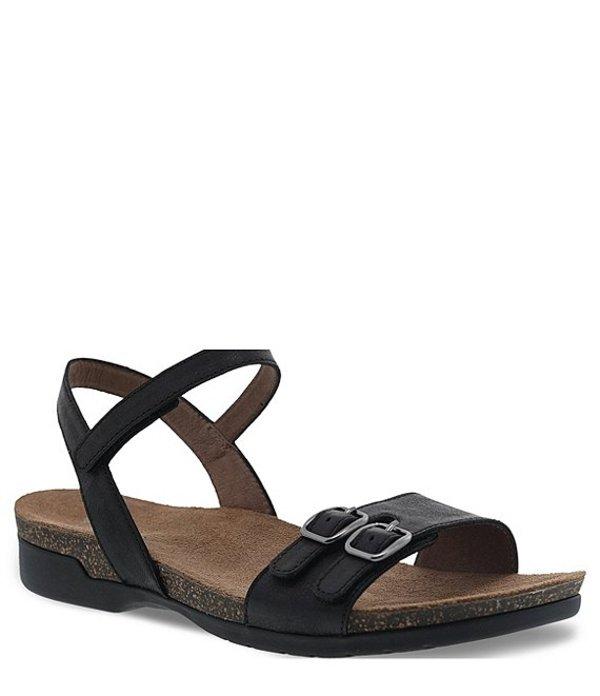 ダンスコ レディース サンダル シューズ Rebekah Burnished Leather Sandals Black Waxy Burnished