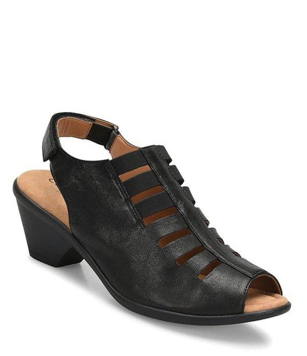 コンフォーティバ レディース サンダル シューズ Faye Leather Block Heel Sandals Black