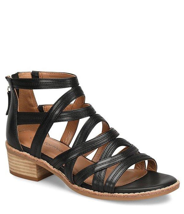 コンフォーティバ レディース サンダル シューズ Betha Leather Gladiator Sandals Black