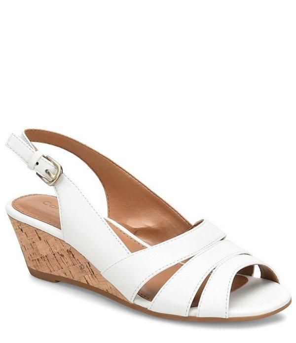 コンフォーティバ レディース サンダル シューズ Randi Slingback Cork Wedge Sandals White