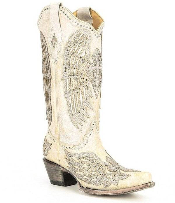 コーラルブーツ レディース ブーツ・レインブーツ シューズ Corral Angela Leather Block Heel Western Boots White