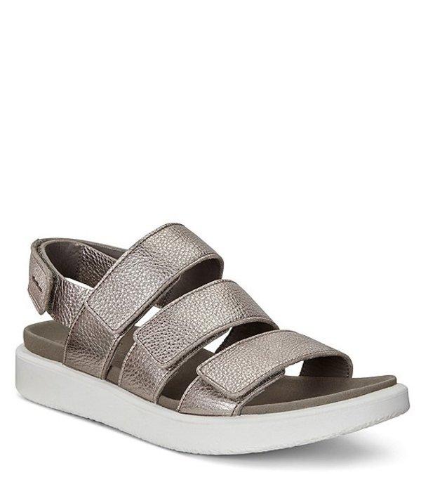 エコー レディース サンダル シューズ Flowt 3 Leather Strap Sandals Warm Grey Metallic