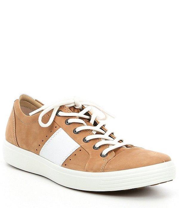 エコー メンズ スニーカー シューズ Men's Soft 7 Leather Summer Sneaker Cashmere/White