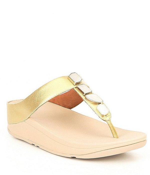 フィットフロップ レディース サンダル シューズ Fino Shellstone Toe Thong Sandals Artisan Gold